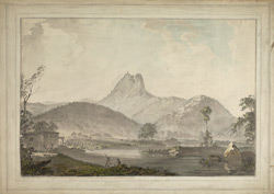 The British Army marching below the rock of Sholingarh. 27 September 1781